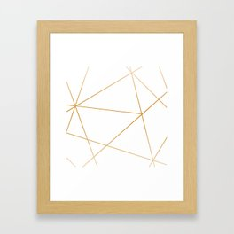 geometric gold and white Framed Art Print