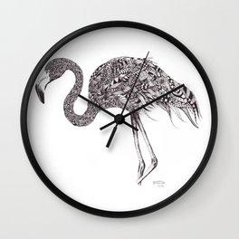 Zentangle Flamingo Wall Clock