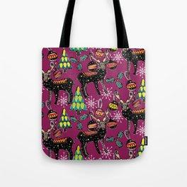 festive deer purple Tote Bag