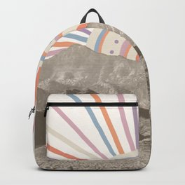 Bohemian Tribal Sun UP / Abstract Vintage Mountain Happy Summer Vibes Retro Colorful Pastel Artwork Backpack