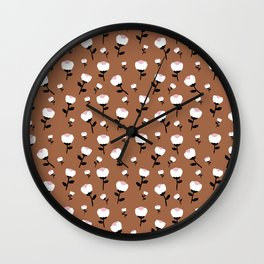 Paper cut cotton boll flowers fall bloom copper Wall Clock