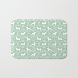 Cairn Terrier silhouette florals mint and white minimal dog breed basic dog pattern Bath Mat