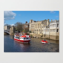 York Guildhall with river boat Canvas Print