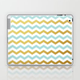 Tiffany Blue and Gold Chevron Pattern Laptop & iPad Skin