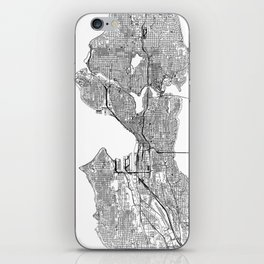 Seattle White Map iPhone Skin