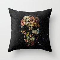 Throw Pillows featuring Smyrna Skull by Ali GULEC