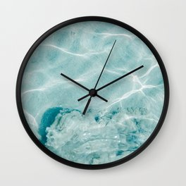 Clear blue water | Colorful ocean photography print | Turquoise sea Wall Clock