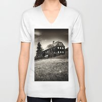 budapest hotel V-neck T-shirts featuring Hotel by DistinctyDesign
