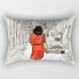 Woman in Red Dress Rectangular Pillow