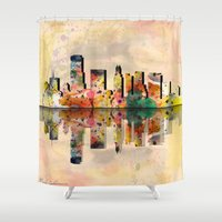 miami Shower Curtains featuring miami  by mark ashkenazi