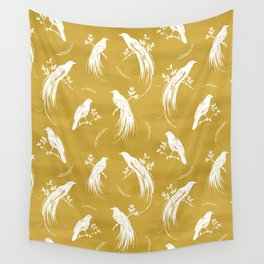 Birds of paradise mustard/white Wall Tapestry