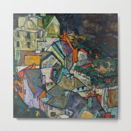 """Egon Schiele """"Stadtende Häuserbogen III"""" Metal Print"""