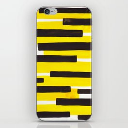 Yellow Primitive Stripes Mid Century Modern Minimalist Watercolor Gouache Painting Colorful Stripes iPhone Skin