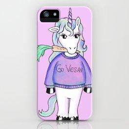 go vegan unicorn rose iPhone Case