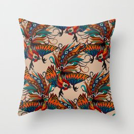 rooster ink beige Throw Pillow