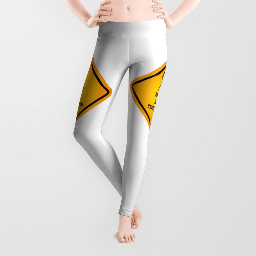 White Under Construction Yoga Leggings