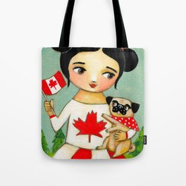 Canada Day Celebration with Pug dog by Tascha Tote Bag