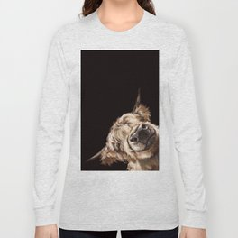 Sneaky Highland Cow in Black Long Sleeve T-shirt