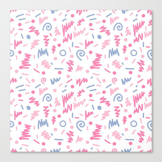 Trendy minimal bright nursery pattern squiggle zig zag polka dots swirl pattern Canvas Print