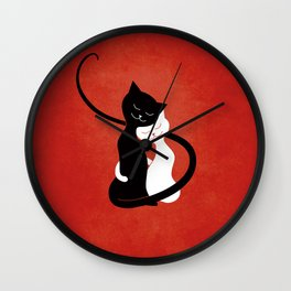 White And Black Cats In Love (red) Wall Clock