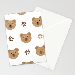Brown doodle paw print and teddy bear white Stationery Cards