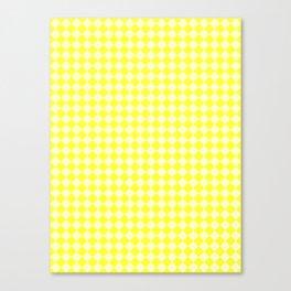 Cream Yellow and Electric Yellow Diamonds Canvas Print