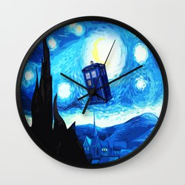 Starry Night Blue Phone Box Wall Clock