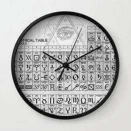 The Alchemical Table of Symbols Wall Clock