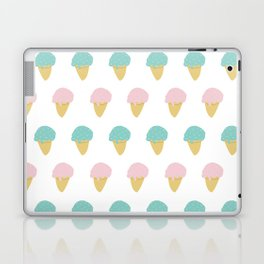 Sprinkle Ice Cream Cone Repeat in Pink + Atomic Mint on White Laptop & iPad Skin