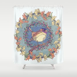 Small Bird With Wildflowers And Holly Wreath Shower Curtain