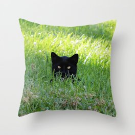 Panther in the Grass Throw Pillow