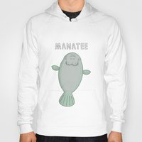 manatee Hoodies featuring Manatee by Carl Batterbee Illustration