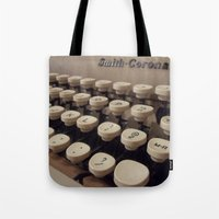 writer Tote Bags featuring Type Writer by Chelsea Gibson