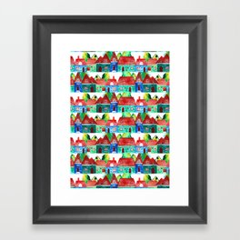 Watercolor houses Framed Art Print