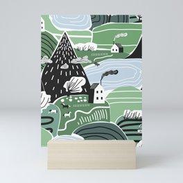 Mountain Valley Village Cute Scandinavian Homes Green Hills Seamless Pattern Mini Art Print