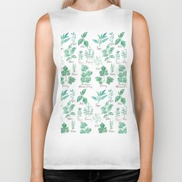 green herbs family watercolor Biker Tank