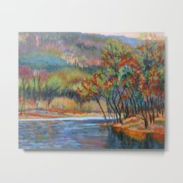 Around the Riverbend, autumn on the Delaware River, an impressionist landscape oil painting. Metal Print