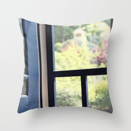 Outside the cottage door Throw Pillow
