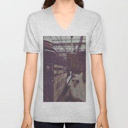 Cat in the Train Station  Unisex V-Neck