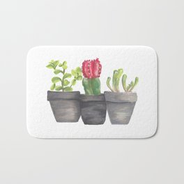 Cute Small Potted Succulent Plants Bath Mat
