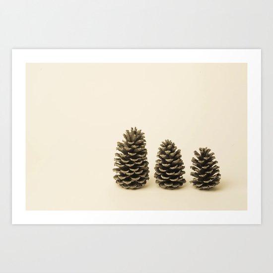 Three Little Pinecones  Art Print