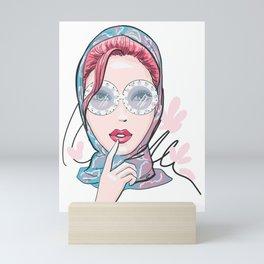 Glamour beautiful woman in glasses. Fashion illustration Mini Art Print