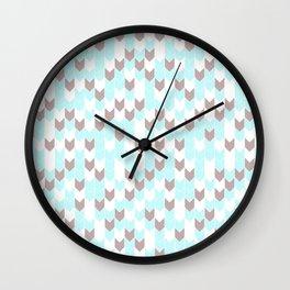 Modern aqua blush pink brown geometrical chevron Wall Clock