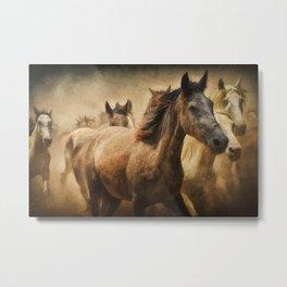 Horses Running Digital Art Metal Print