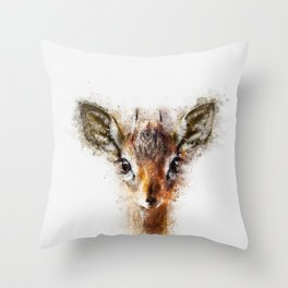Dik Dik Antelope Watercolor Throw Pillow
