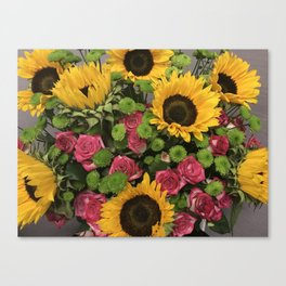 Sunflowers and Little Red Roses Canvas Print