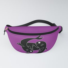 PISCES Horoscope Two Fish Design - Purple Fanny Pack