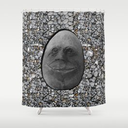 Happy Alien Monster Rock face , portrait in stone effect Shower Curtain