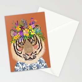 Tiger with Floral Crown Art Print, Funny Decoration Gift, Cute Room Decor Stationery Cards
