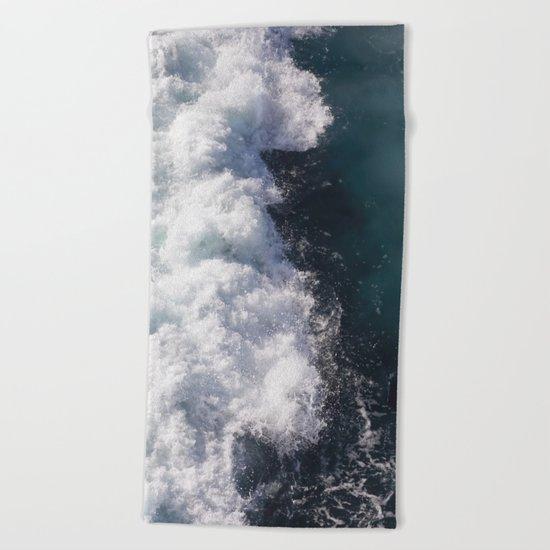 sea - midnight blue wave Beach Towel